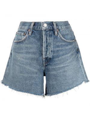 Хлопковые синие джинсовые шорты на пуговицах Agolde
