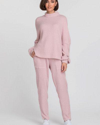 Костюмный розовый брючный костюм Gloss