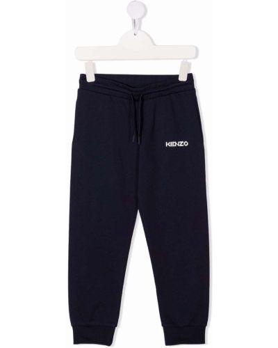 Niebieskie spodnie bawełniane z printem Kenzo Kids