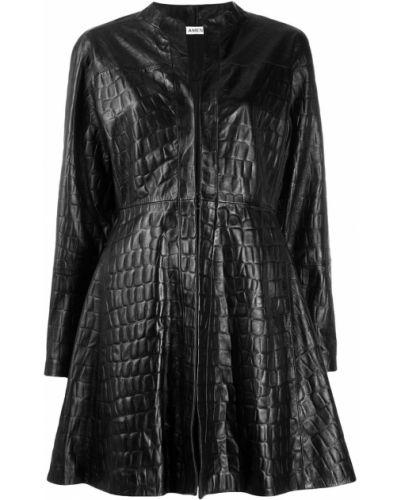 Черное длинное пальто с капюшоном Amen