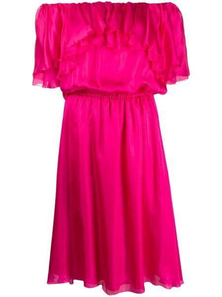 Шелковое платье миди - розовое Blumarine