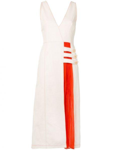 Хлопковое платье миди на пуговицах со вставками без рукавов Alexis