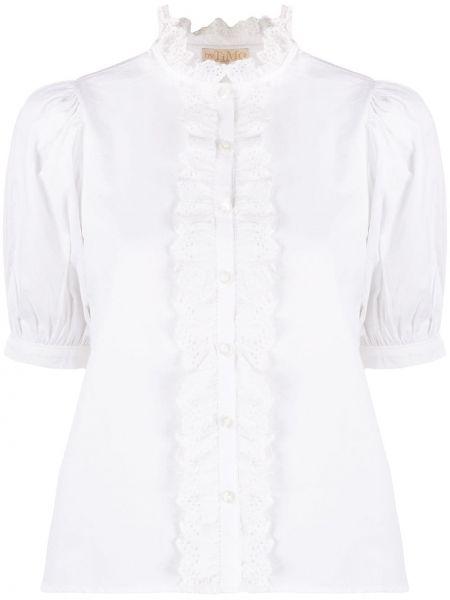 Bluzka z krótkim rękawem biała z falbankami Bytimo