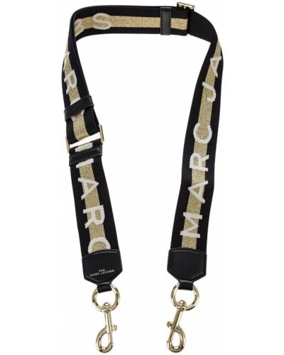 Золотистый текстильный черный ремень Marc Jacobs