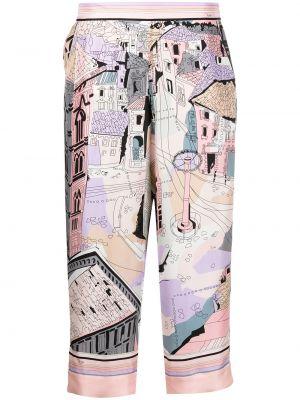 Шелковые розовые прямые укороченные брюки Emilio Pucci