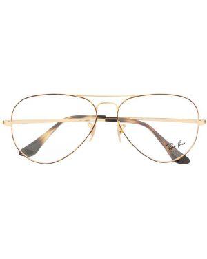 Желтые очки авиаторы металлические Ray-ban