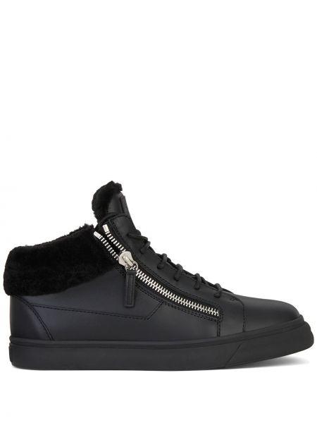 Ażurowy czarny skórzany sneakersy okrągły Giuseppe Zanotti