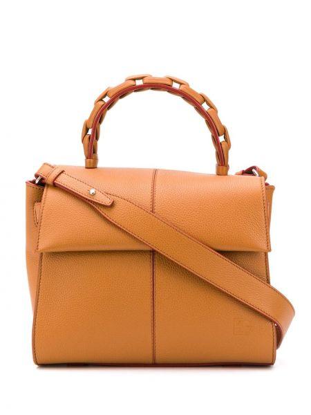 Кожаная коричневая сумка-тоут на молнии с карманами Elena Ghisellini