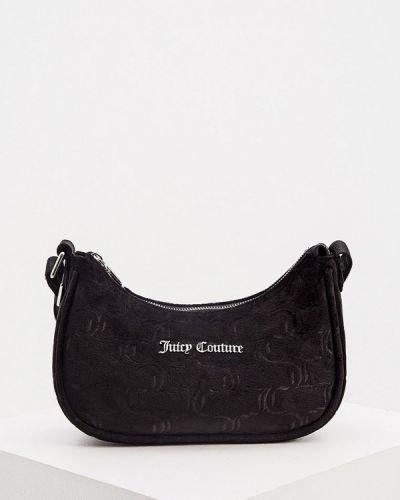 Бархатная черная сумка с ручками Juicy Couture