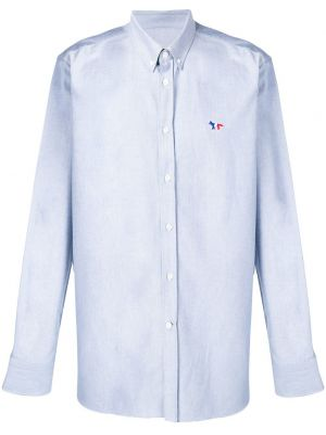 Niebieska klasyczna koszula bawełniana z długimi rękawami Maison Kitsune