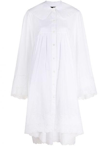 Белое платье с вышивкой на пуговицах с воротником Simone Rocha