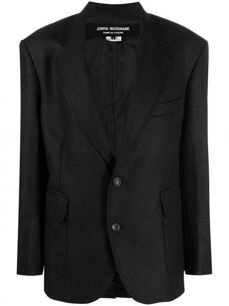 Черный кожаный классический пиджак с нашивками Junya Watanabe