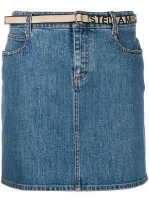 Синяя классическая джинсовая юбка с поясом с потайной застежкой Stella Mccartney