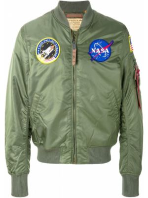 Куртка зеленая с нашивками Alpha Industries