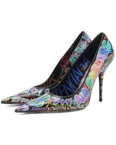 Кожаные туфли с принтом яркие Balenciaga