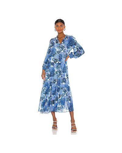 Синее платье макси на пуговицах с подкладкой Loveshackfancy
