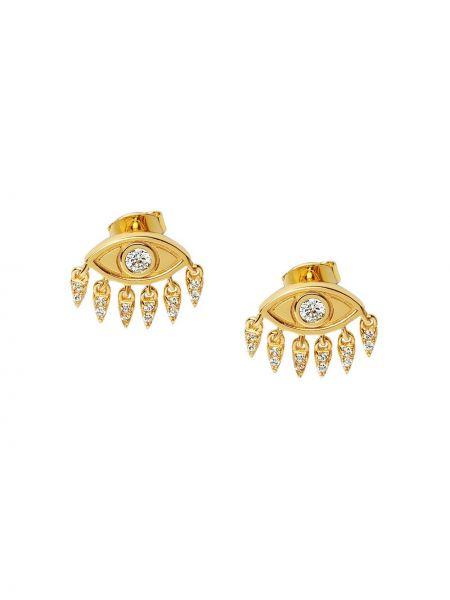Золотистые серебряные серьги-гвоздики позолоченные с бриллиантом Nialaya Jewelry