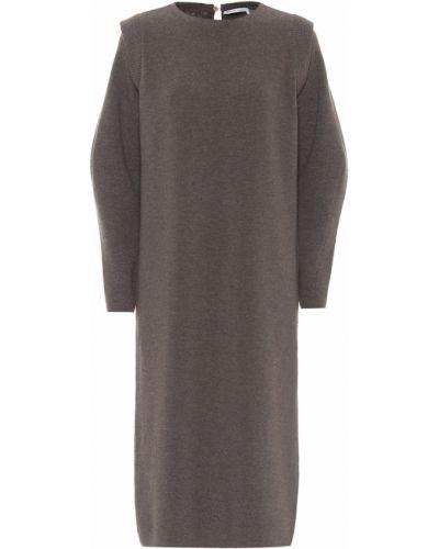 Коричневое шерстяное брендовое платье миди Agnona