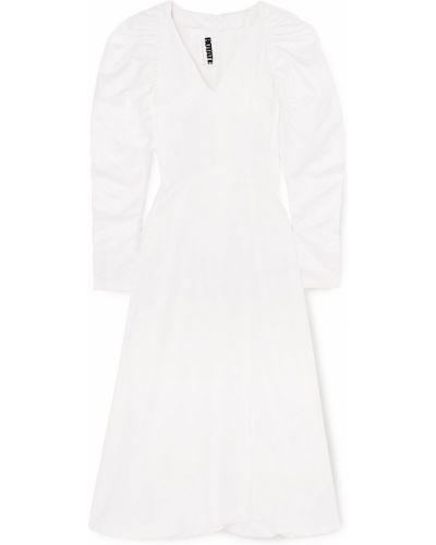 Biała satynowa sukienka midi zapinane na guziki Rotate Birger Christensen