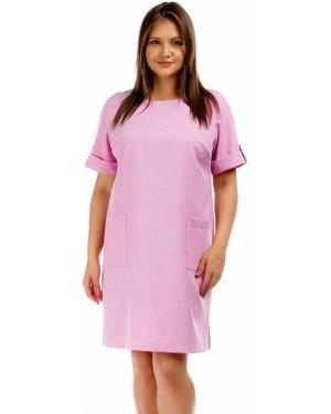 Летнее платье розовое на пуговицах Liza Fashion