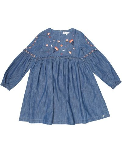 Ватное хлопковое синее джинсовое платье с вышивкой Tartine Et Chocolat