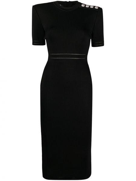 Черное приталенное платье миди с вырезом на молнии Balmain