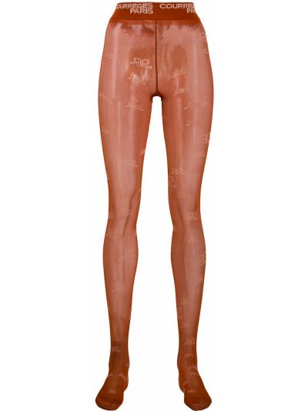 Шелковые коричневые колготки стрейч Courrèges
