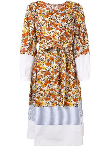 Платье макси с цветочным принтом с поясом Tory Burch