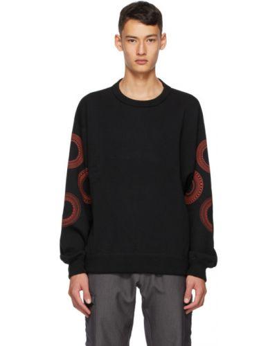 Шерстяной черный свитер с воротником с манжетами Affix