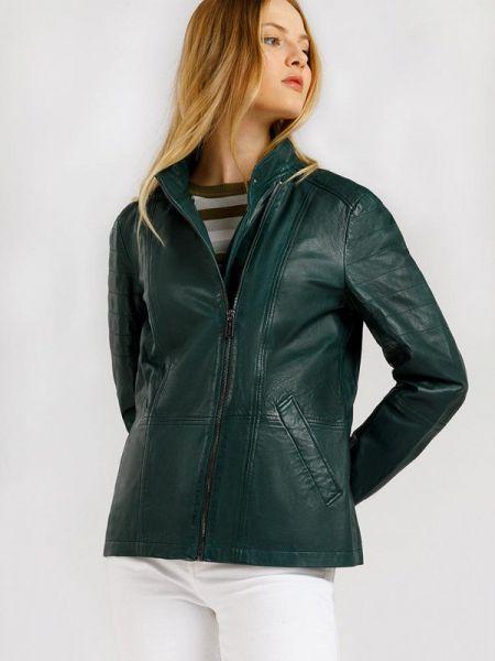 Кожаная куртка расклешенная - зеленая Finn Flare