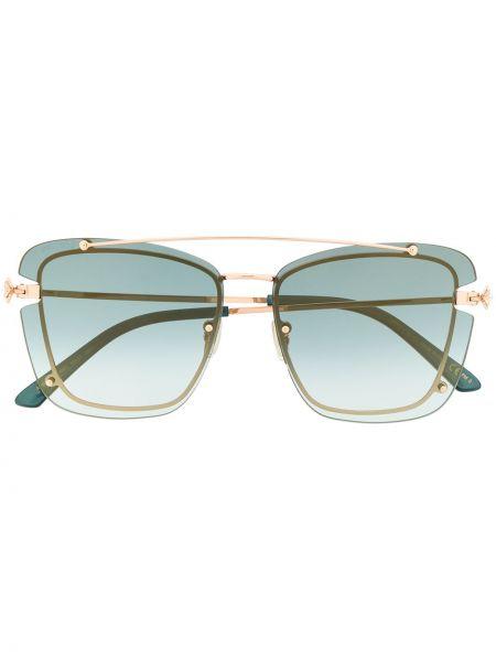 Золотистые синие солнцезащитные очки металлические оверсайз Jimmy Choo Eyewear