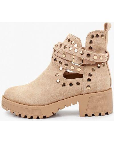 Текстильные бежевые туфли с круглым носом Ideal Shoes®