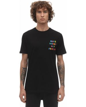 Czarny t-shirt bawełniany z printem Make Money Not Friends