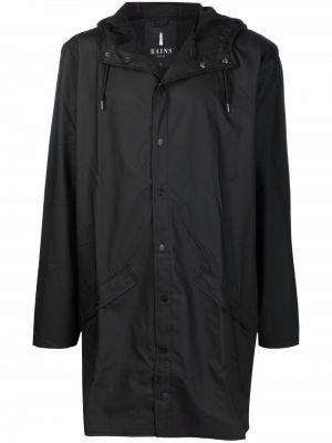 Czarny długi płaszcz z kapturem Rains