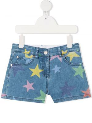 Хлопковые синие джинсовые шорты с карманами Stella Mccartney Kids