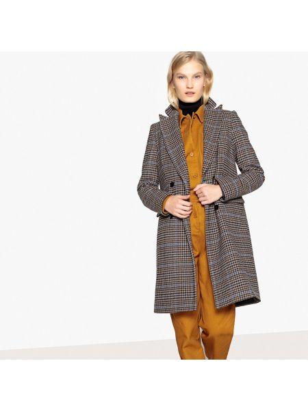 Пальто в клетку шерстяное La Redoute Collections