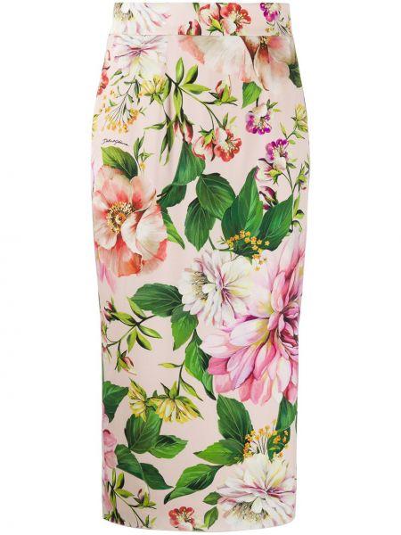 Розовая шелковая юбка карандаш с рукавом 3/4 Dolce & Gabbana