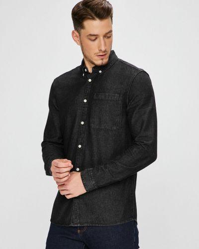 Джинсовая рубашка однотонная с длинным рукавом Review