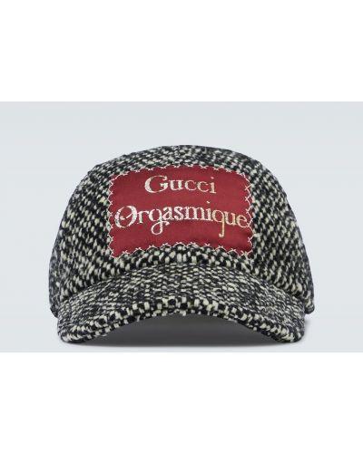 Бейсбольная шерстяная черная шапка Gucci