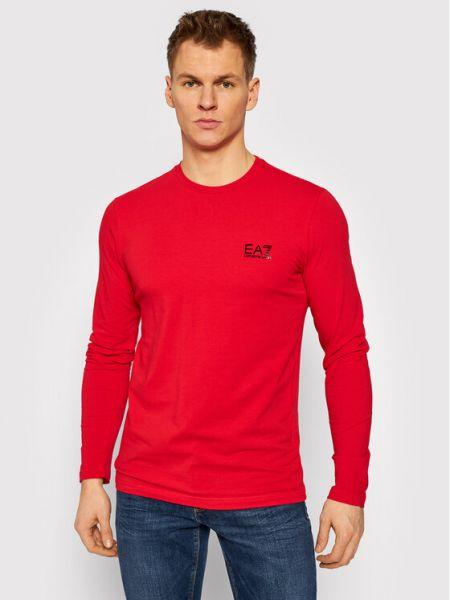 Czerwony koszulka z długim rękawem Ea7 Emporio Armani