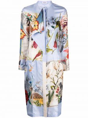 Шелковое синее платье макси с длинными рукавами Salvatore Ferragamo