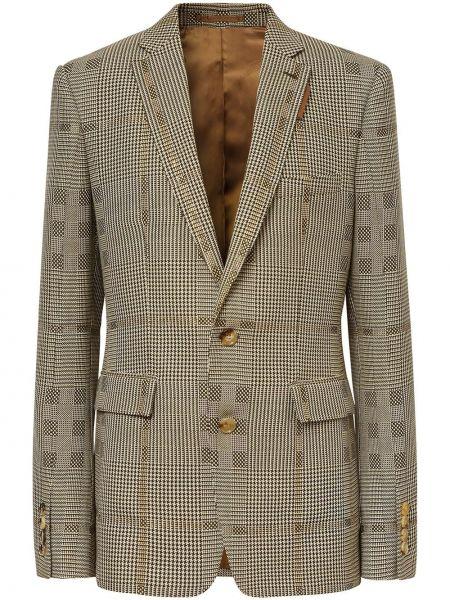 Wełniany brązowy kurtka z mankietami z kieszeniami Burberry