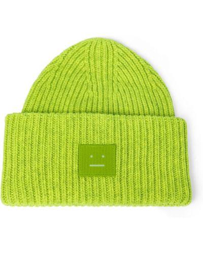 Шерстяная шапка бини - зеленая Acne Studios