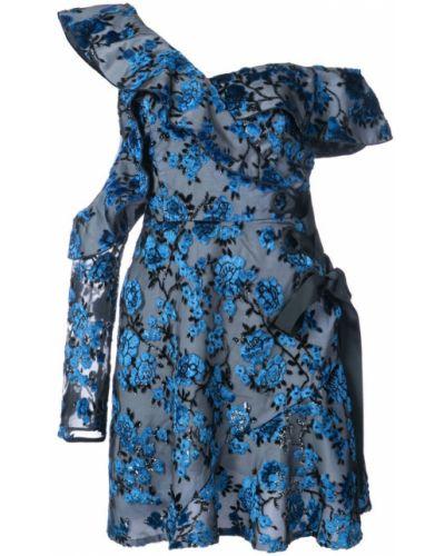 Платье с цветочным принтом на одно плечо Self-portrait