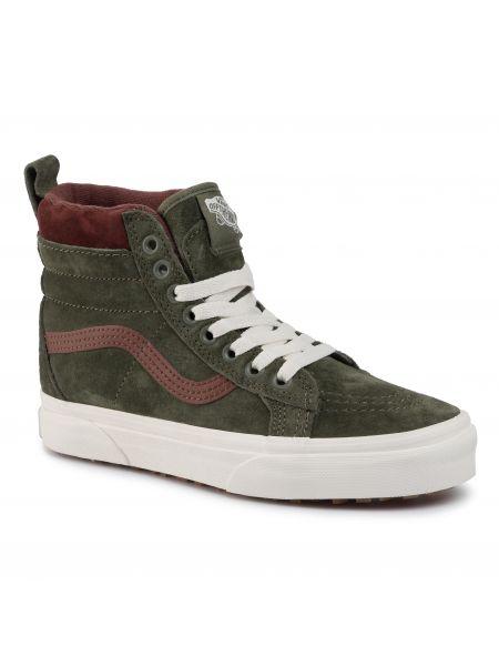 Skórzany sneakersy zamszowe zielony Vans