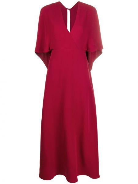 Шелковое платье макси - красное Valentino