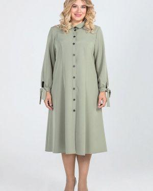 Повседневное платье осеннее зеленый Luxury Plus