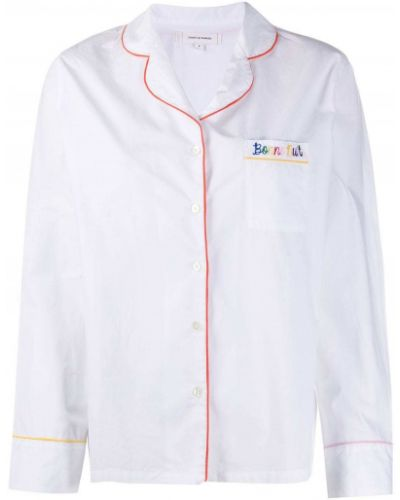Пижамная белая пижама с вышивкой на пуговицах Chinti & Parker