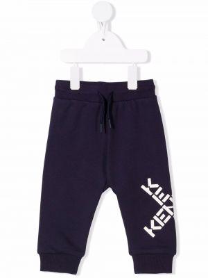 Niebieskie spodnie prążkowane Kenzo Kids