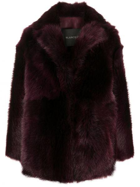 Красное кожаное длинное пальто оверсайз Blancha